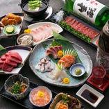 肉寿司や鮮魚・地鶏のお造りなど人気メニューをコースでも!