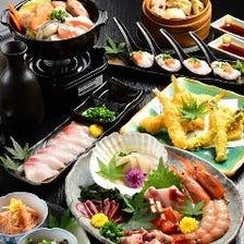 ★【飲放付】鮮魚6種・牡蠣とふぐ鍋・肉寿司「極(きわみ)コース」(金土祝前祝日は+500円)