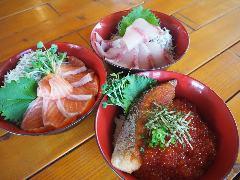 オーシャンビュー 朝どれ鮮魚の海鮮丼 魚○