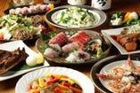自慢の産直鮮魚、創作和食が堪能出来るコース料理の数々。