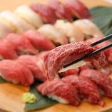 こだわりの肉寿司も食べ放題で楽しめる◎