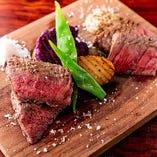 ◆・合戦ステーキ・◆ ブランド牛の食べ比べができる贅沢な一皿