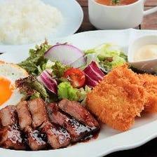 ポークチャップ&丹波赤どりカツ(スープ・ライス付き)