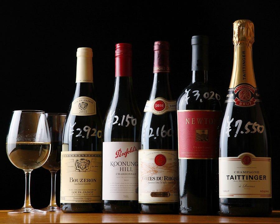 100種以上の銘品取り揃え! 店内ワインは定価+999円でご提供!