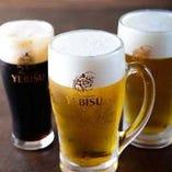 生ビールは贅沢なエビス!「プレミアムブラック」も