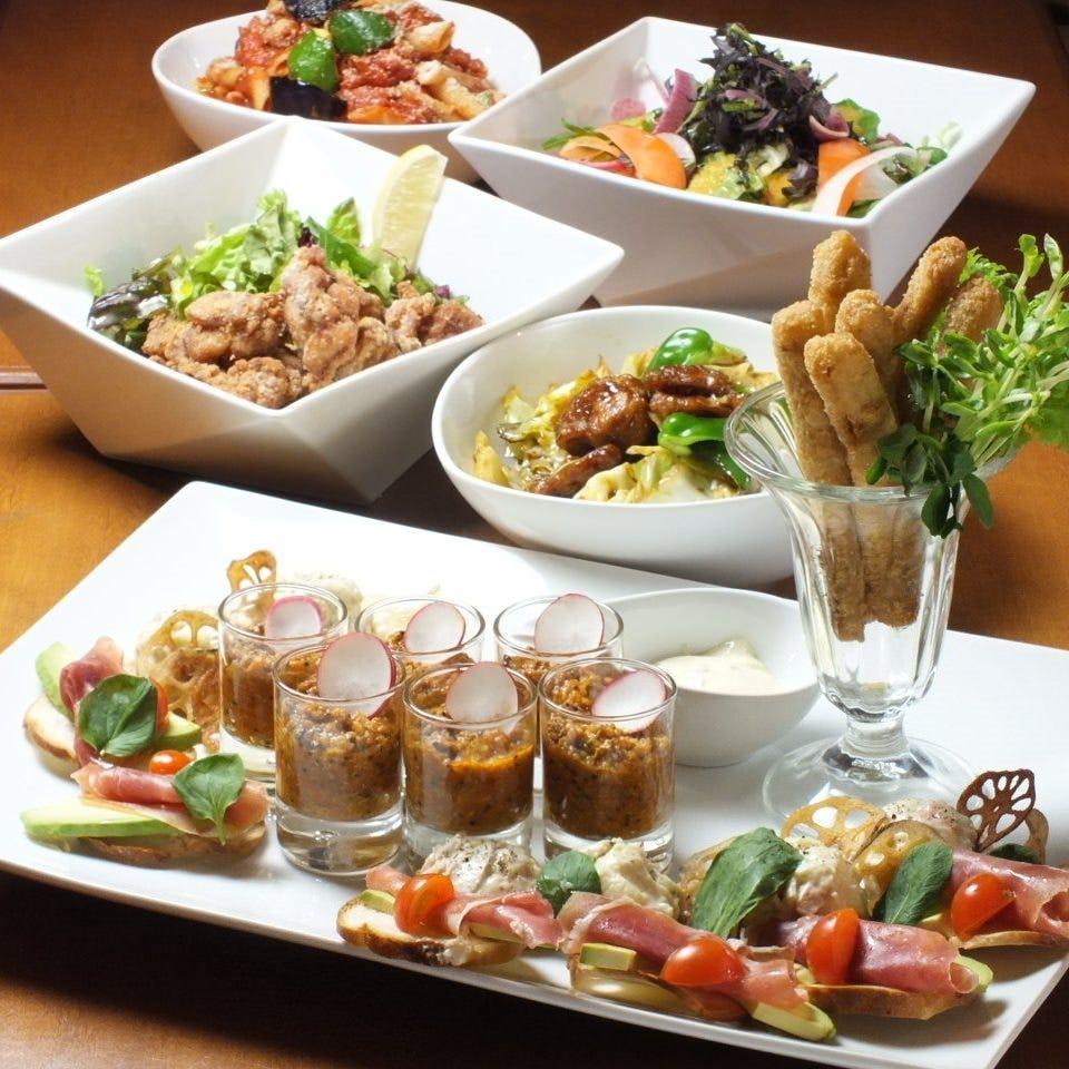 飲み放題付宴会コース5,000円 若鶏と酵素玄米の豆乳ドリア