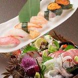 【新鮮さが自慢】 新潟の季節の海鮮をお造りとお寿司で!