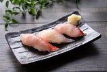 地場産鮮魚の握り寿司(3貫) 1皿サービス(ディナー限定)