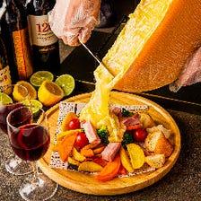 ラクレットチーズ-温野菜と肉の盛り合わせ-