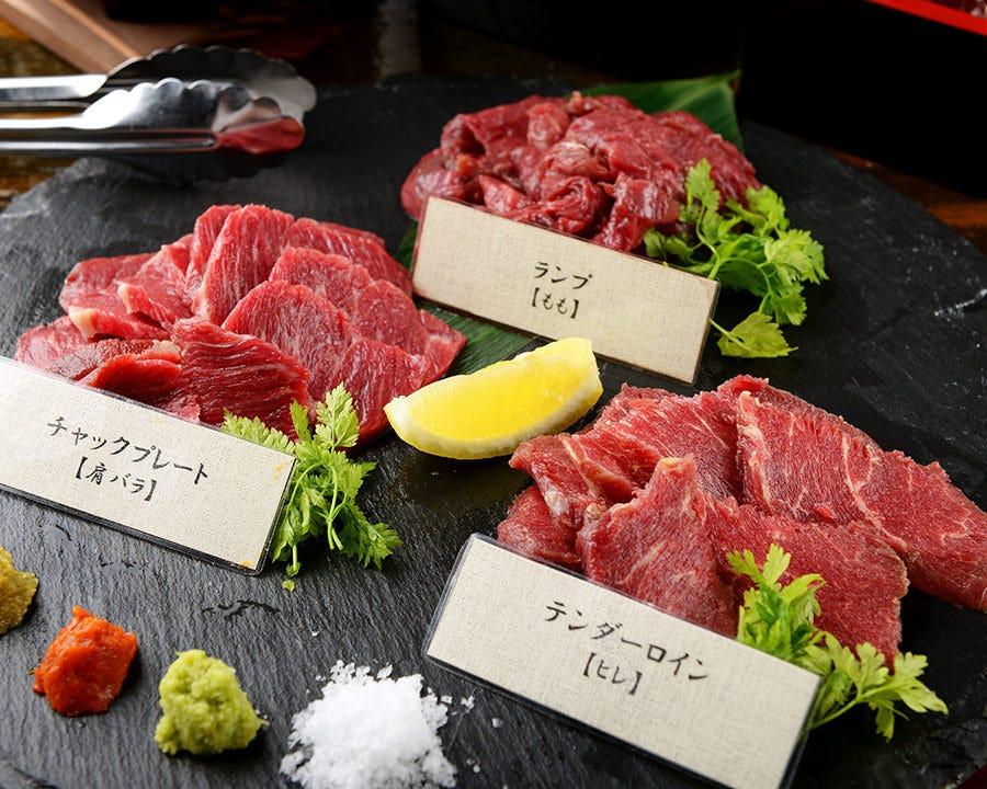 当店名物!桜肉の焼肉【馬焼】コース全9品 飲み放題付\5,500 クーポン使用で\5,000