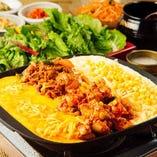 コーンチーズタッカルビ&豚肉炒め&チェダーチーズ