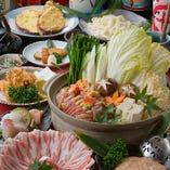 【2時間飲み放題付】地鶏+鹿児島黒豚の鍋コース