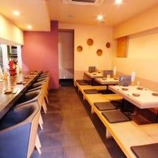 居心地のよい空間で楽しめるお料理