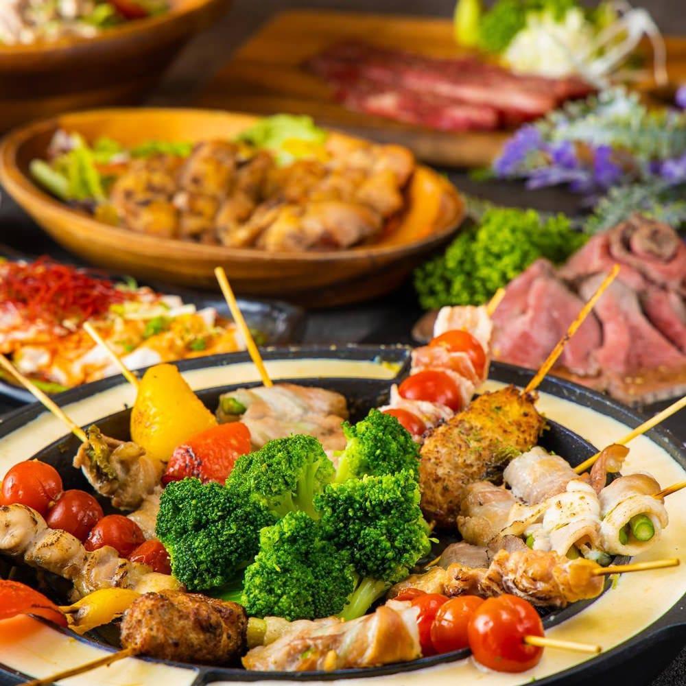 ≪Goldコース≫贅沢肉料理+串焼きチーズフォンデュ!2.5H飲み放題付 全9品 6500円⇒5500円