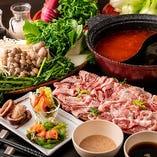 高級黒豚&ラム肉が食べ放題+選べる前菜3種が楽しめる「しゃぶしゃぶDコース」