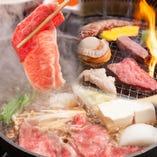10名様以上の食べ放題コースで、焼肉・しゃぶしゃぶ・すき焼きの3種類全てお楽しみ頂けます!