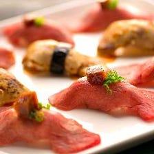 黒毛和牛の握り寿司 & フランス産フォアグラのお寿司