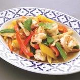 海老と3色野菜炒め