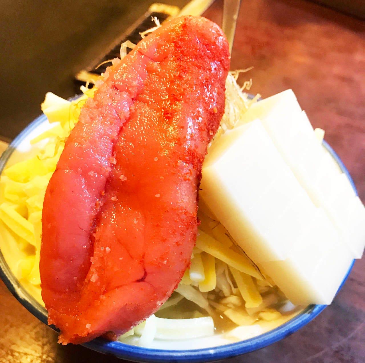 ド定番の明太子餅チーズ!明太子に本気です