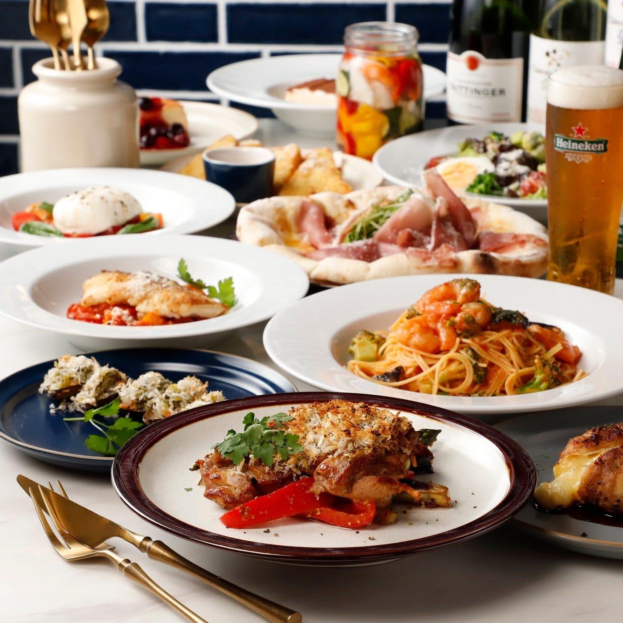 人気料理と種類豊富なドリンク 2h飲み放題付きパーティーコース