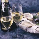 牡蠣とスパークリングワインのペアリング♪