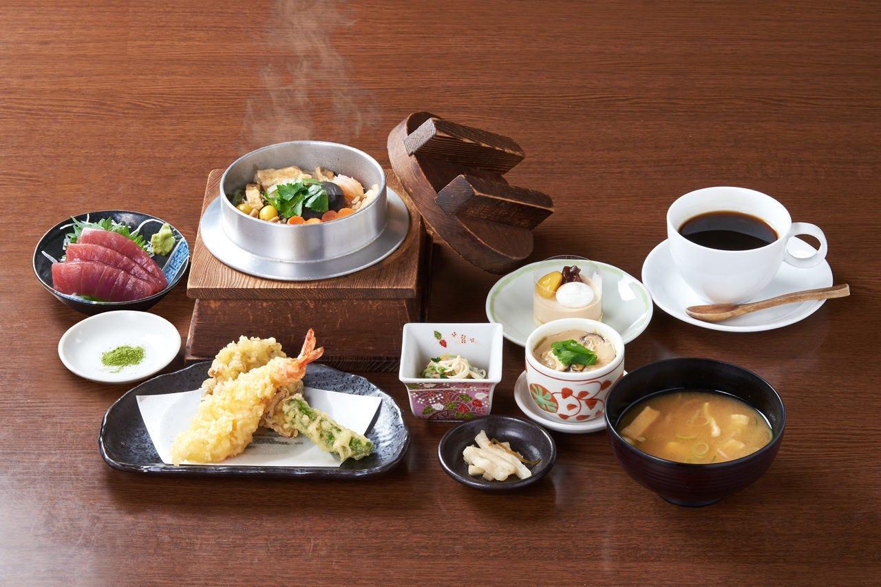 ■お得な昼宴会!3,000円ランチコース 全9品 ※選べる釜飯・天ぷら付き