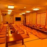 最大60名様までご宴会できる二階のお座敷は大人数での宴会に最適
