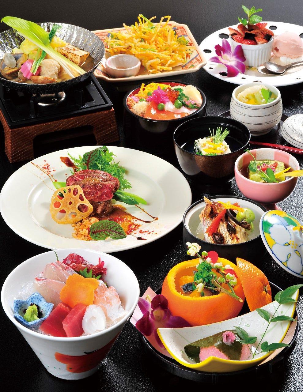 季節の食材を用いた夢咲屋のコース
