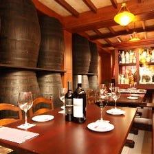 「醸造所でワインを飲んで肉を食べる」