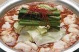 ■コチュジャンを使った、人気の赤もつ鍋です。