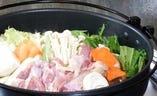 <地鶏鍋> 季節限定・コラ-ゲンたっぷりです
