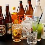 各コースは2時間飲み放題がセット。瓶ビールも飲み放題です!