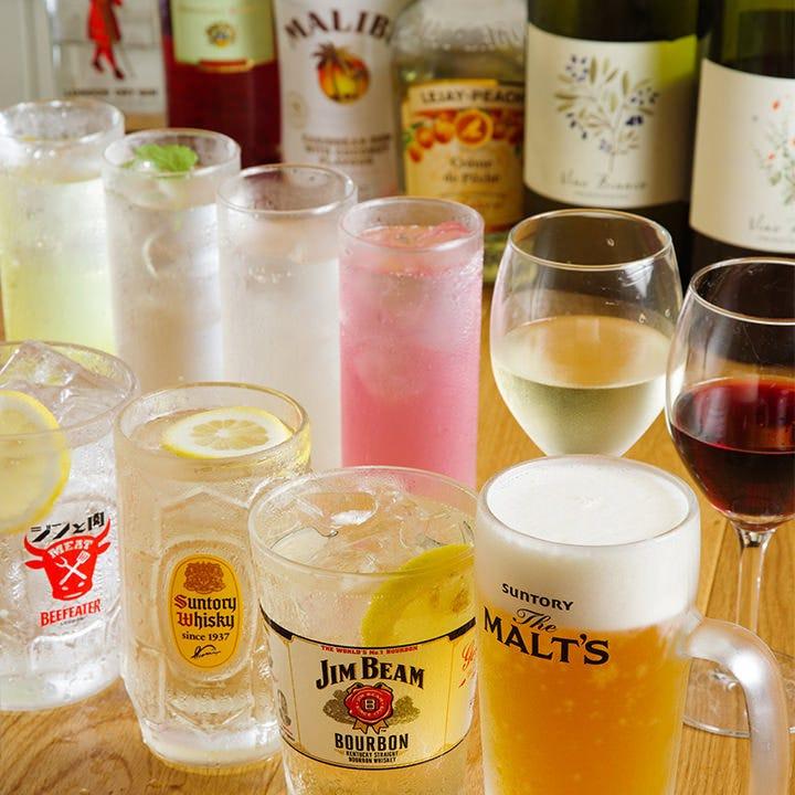 ☆ポイント利用可☆ 生ビール含む!◆全60種が2H飲み放題◆~アラカルト飲み放題プラン~1500円⇒1000円