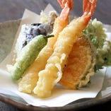 海老と季節野菜の天婦羅
