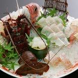 鮮魚お造り各種(本まぐろ赤身、生うに、かんぱち、あおりいか、地だこ他)