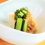 九条葱と高野豆腐の肉味噌がけ