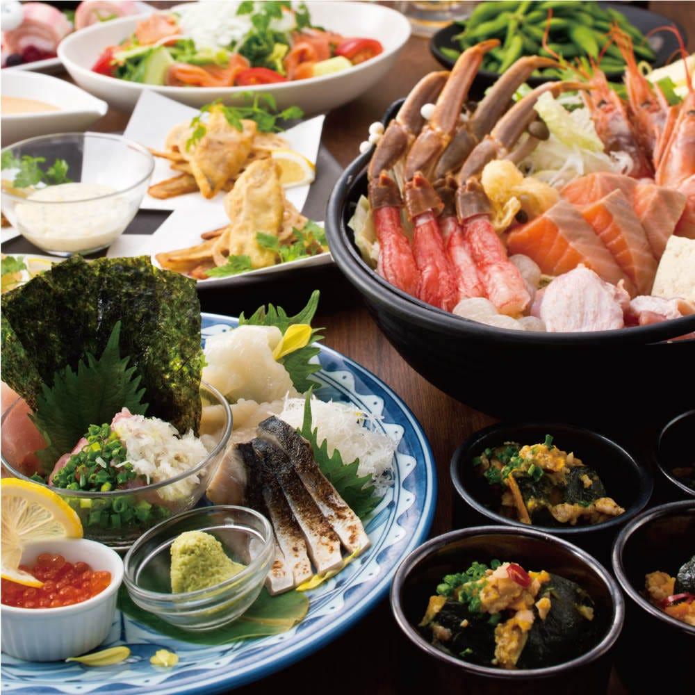 【2H飲み放題付 全9品】国産牛のすき焼きor贅沢海鮮鍋 贅沢コース5000円(税込)