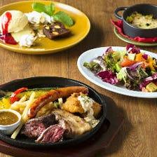 【平日限定】乾杯ドリンク付き+4種のお肉と季節野菜のグリルランチコース