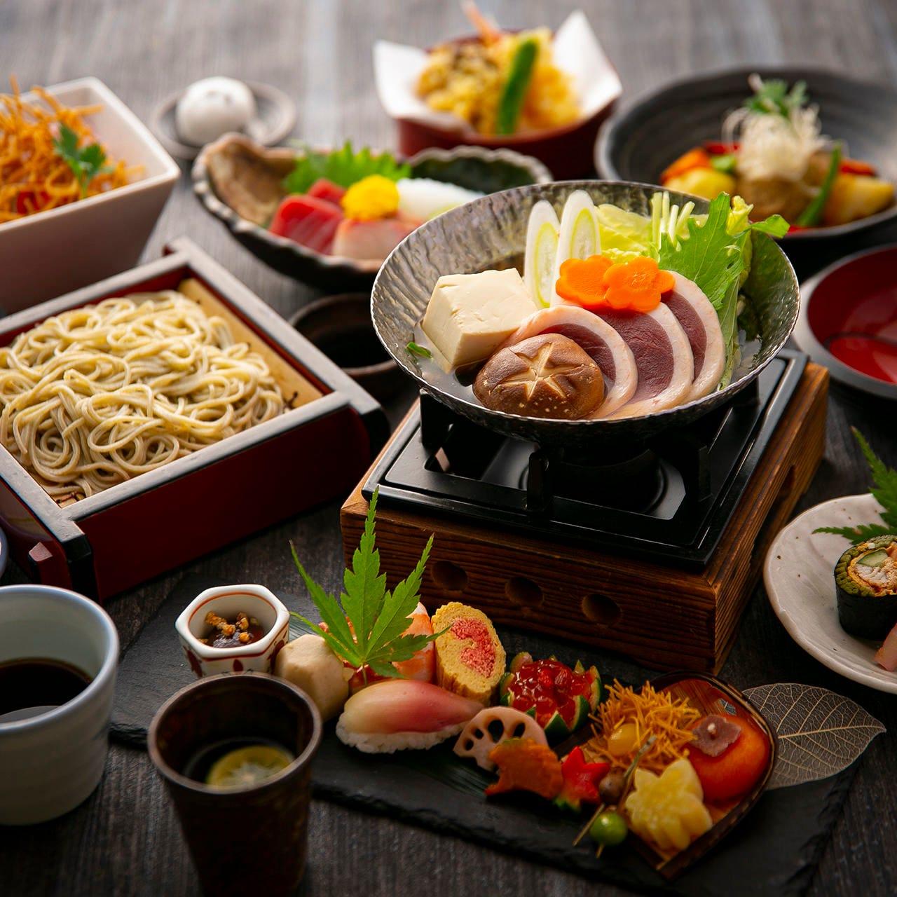 季節の懐石料理が楽しめる懐石蕎麦コースが人気!