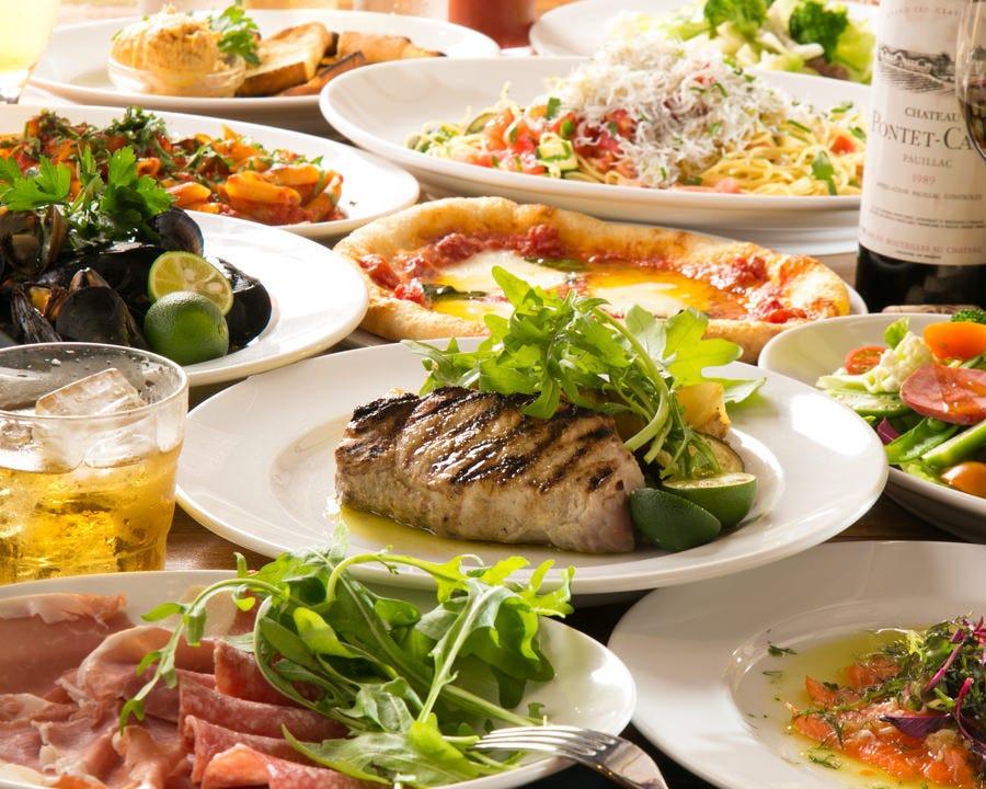 築地より仕入れた鮮魚や野菜が楽しめるコースは4,000円~