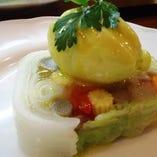 旬野菜のテリーヌ仕立て トスカーナ産オリーブオイルのジェラートでピンツィモーニ風