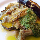 【京野菜】加茂茄子で挟んだランプレドットとトリッパのパニーノ仕立て サルサヴェルデと共に