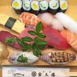 伝承の技術で握られる江戸前鮨を堪能できるコースは4,000円~