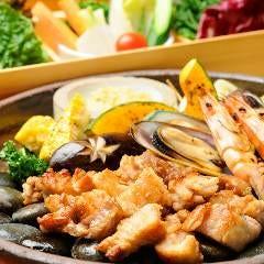 厚切りサムギョプサルと焼き海鮮・野菜 ~葉もの野菜付