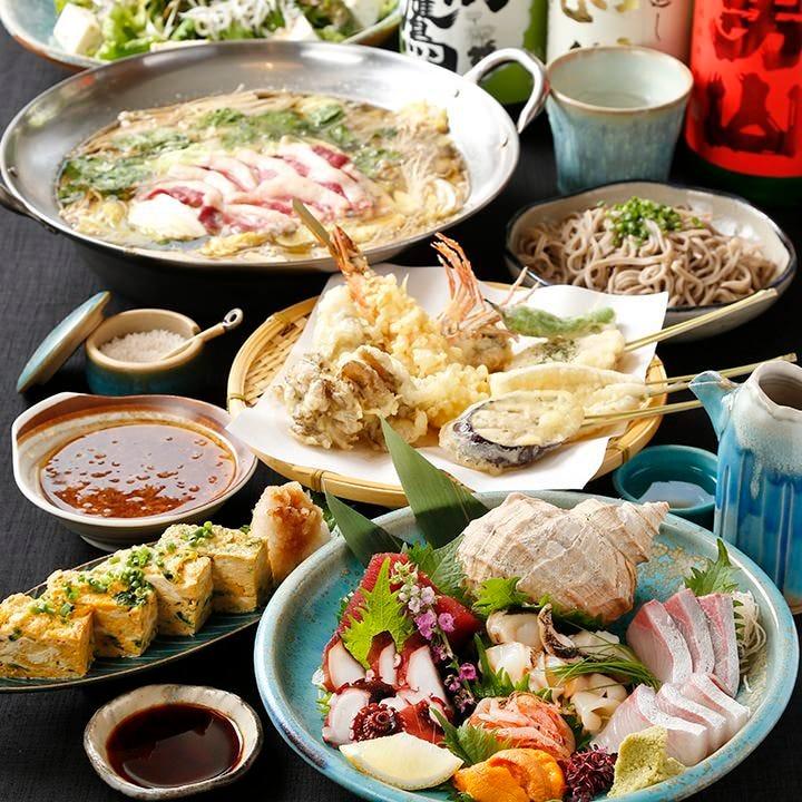 【3時間飲み放題付】お料理10品 串天ぷらとお酒を堪能!鴨鍋コース