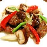 牛ヒレ肉の黒胡椒炒め