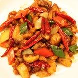 鶏肉と野菜の辛子炒め