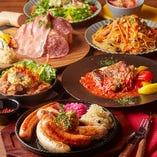 ボリューム満点「カイザーコース」はしっかり食べて飲みたい時におすすめ。自慢の「ドイツソーセージ5種盛」「ジャーマンタルタル唐揚」「一晩ビールに寝かせたグリルチキン」はじめ、当店自慢のお肉料理充実のコースです。