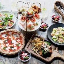 季節料理や自慢のピッツァを堪能!