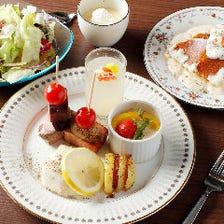 とろ~り地鶏卵のオリジナルカルボナーラパンケーキ♪『2,500円パンケーキコース』記念日やデートに◎